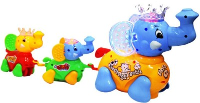 Zaprap Multicolor Plastic Musical Family Elephant Toy