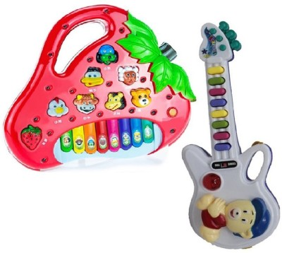 Turban Toys Strawberry Shaped Animals Sound Piano with small Guitar With Light And Sound
