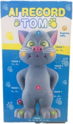 MousePotato Big Size 15 Inch Talking Tom Cat AI Touch Response Record TOM with Cool Flash Light Eyes 100% Non Toxic
