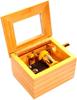 Stylezit Wooden Music Box With Happy Birthday Tune - Hand Crank Winding