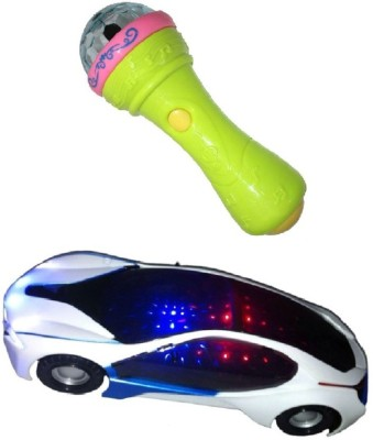 New Pinch 3d light car with Mike musical toy