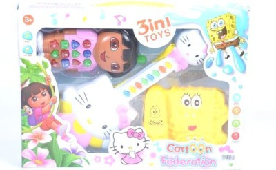 Turban Toys Creation Hello Kitty 3 In One Musical Guitar Telephone & Mobile