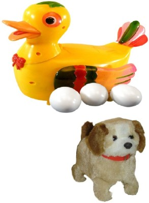 Shop & Shoppee Combo of Jumping Puppy & Duck Lays Eggs Battery Operated Toy