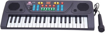Arvin 37 Keys Musical Electronic Keyboard Organ With Mic Melody Mixing(Black)