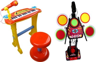 Toys Bhoomi 2 Piece Combo Electronic Piano + Junior Jazz Drum - Educational Musical Toys
