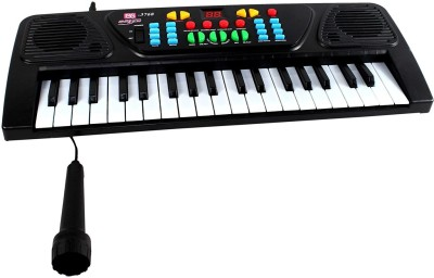 Wish Kart Of Toys 37 Keys Electronic Melody Musical Keyboard With Microphone(Black)
