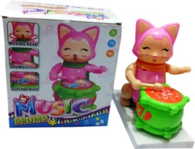 Shop & Shoppee Cute Kitty Drummer With Music & Light
