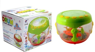 ToysBuggy Musical Flash Drum With Flashing Lights And Rotating Fish(Multicolor)