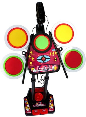 Turban Toys Hot Selling Electronic Junior Jazz Drum Beat Set with Mp3 Plug-In + Microphone + Pedal Mechanism + Adjustable Heights