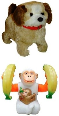 Turban Toys Jumping Puppy Dog & Banana Monkey
