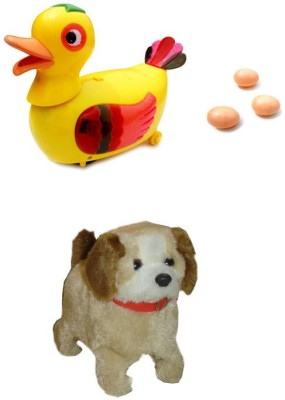 Smartkshop Egg Laying Funny Duck Bump and Fantastic Puppy Battery Operated Jumping Dog Run Jump Toy For Kids Gift Toy