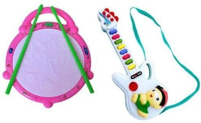 Turban Toys Combo Of Musical Flash Drum and Mini Guitar