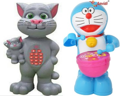 LAVIDI Combo of two Musical & Learning toys, Talking Tom Mother with kid & Doraemon Drummer