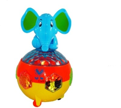 Turban Toys Battery Operated Musical Elephant With Light, Bump & Go Action