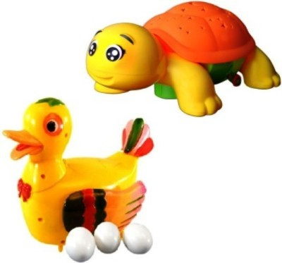 Turban Toys combo of Funny Duck Lays Eggs with projection turtle Light & Sound Battery Operated Toy