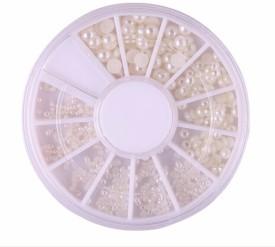 SENECIO™ 4 Mixed Size 3D Fashion Ivory White Bridal Nail Art Decoration Pearl Acrylic Gem DIY Manicure 6cm Wheel