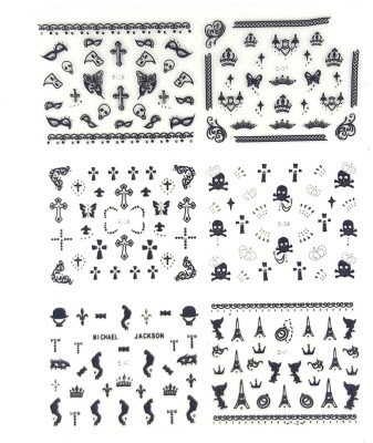 99DailyDeals NailArts B&S Stickers(Black Silver)