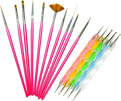 Beauty Of Life 15 Pieces Pink Nail Art Brushes and Dotting tools set