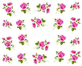 SENECIO™ Pink Love Rose Floral Nail Art Manicure Decals Water Transfer Stickers 1 Sheet