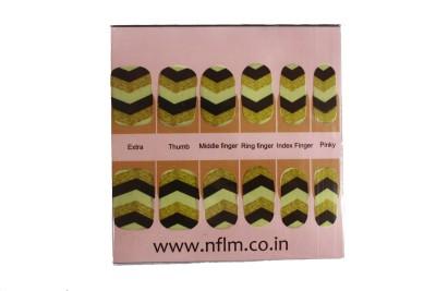 NFLM Designer Nailwear Black & Golden Print