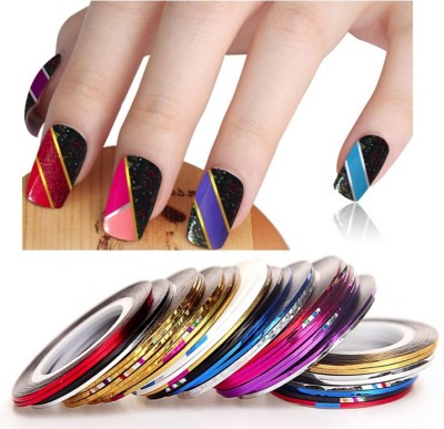 Looks United 20 X Random Color Nail Art Striping Rolls Tape Nail Sticker Nail Tip Decoration