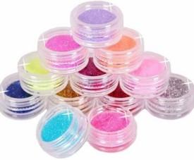 Glamdoll 12 Color Metal Glitter Nail Art Tool Acrylic UV Powder Dust
