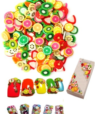 """SENECIOâ""""¢ 100Pcs Mix Colors 3D Clay Varient Designs Nail Art Slice Tips Decoration"""