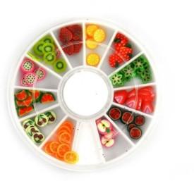 SENECIO™ Fruit Fimo Nail Art Multicolor 3D Clay Slice Tips Decoration With 6cm Wheel
