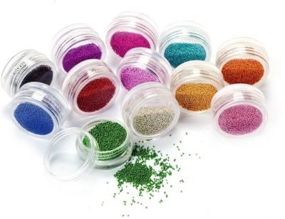 Atanands 12 Jar Mixed Colors Caviar Nail Art Micro Beads