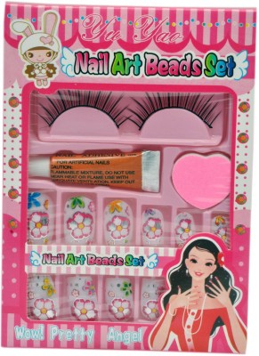 ARIP Nail Art Beed Sets with Eyelashes(Multicolor)