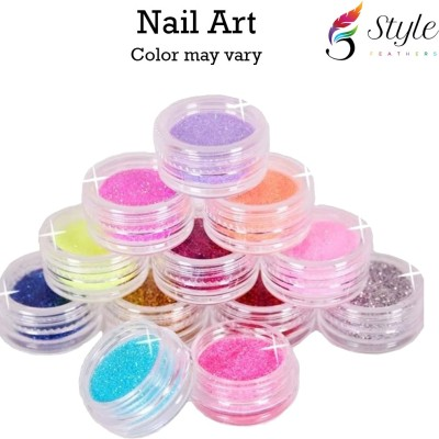 Leysha 12 Color Metal Glitter Nail Art Tool Acrylic UV Powder Dust Gem Stamper