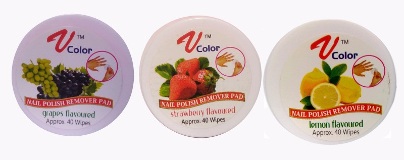 V-Color Nail Polish Remover Pads (Strawberry, Grapes, Lemon)(120 g)