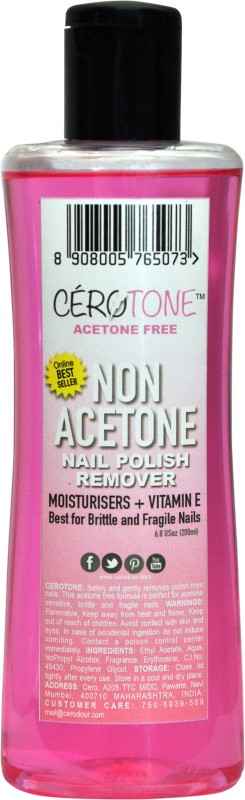 Cero Cerotone Non Acetone Nail Polish Remover (Acetone Free Best For Fragile / Brittle Nails) Moisturisers + Vitamin E(200 ml)