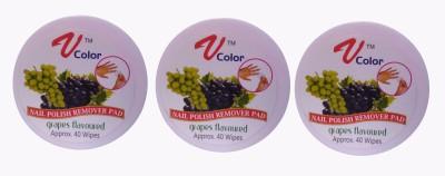 V-Color Nail Polish Remover Pads (Grapes-3)