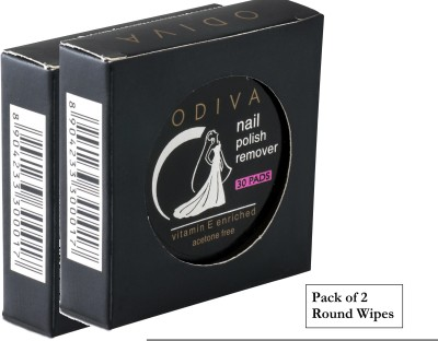 Odiva Nail Remover Round Wipes (2 Packs of 30 Pads)