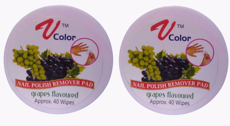 V-Color Nail Polish Remover Pads (Grapes-2)(80 g)