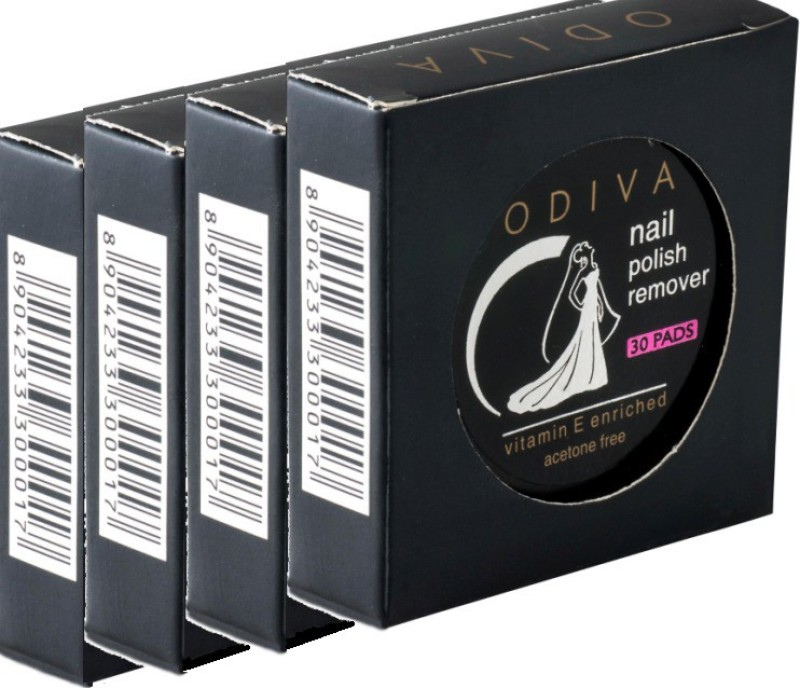 Odiva Nail Remover Round Wipes (4 Packs Of 30 Pads)(120)