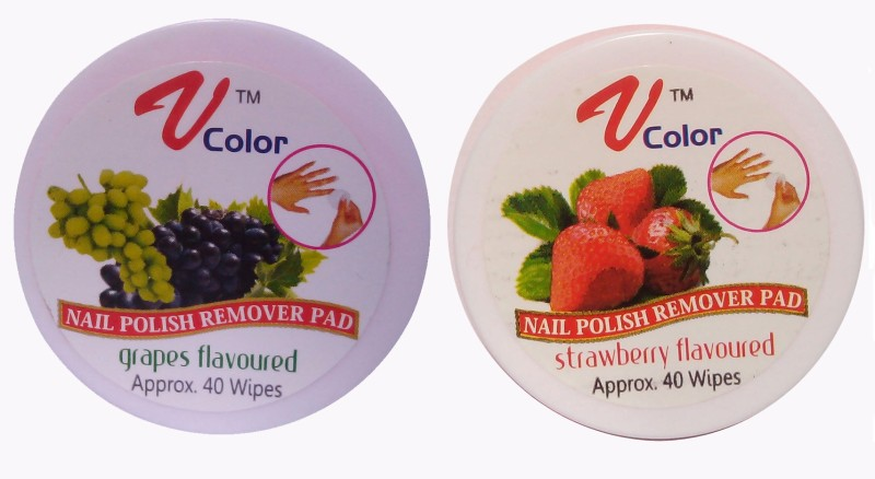 V-Color Nail Polish Remover Pads (Strawberry, Grapes)(80 g)
