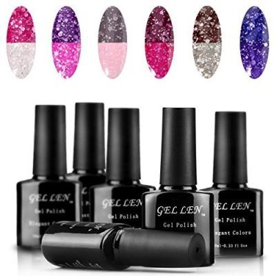 Gellen Temperture Color Chaning Sets Uv Soak Off Polish Mixed Colors 01 10 ml