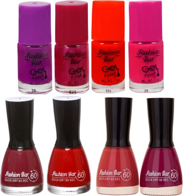 Fashion Bar Neon Shades redished Nail polishes Combo 56 ml
