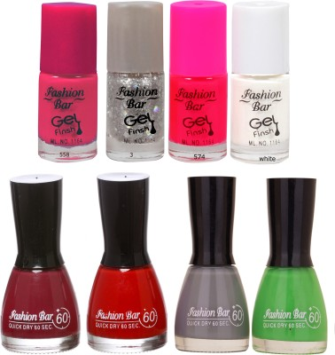 Fashion Bar Neon Shades sparkel Nail polishes Combo 56 ml