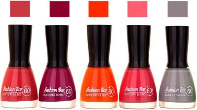 Fashion Bar Redish Pink,Mavue,Orange,Neon Pink,Gray Shades Nail Polish 145314 45 ml
