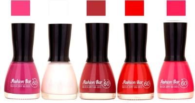 Fashion Bar Voilet Purple,White ,Mauve ,Red ,Lotous Pink Shades Nail Polish 145323 45 ml