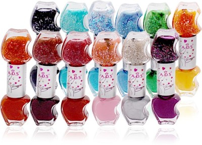 ADS BUDGET COLOR COMBINATION NAIL POLISH 12pcs in 24 Color Free Liner & Rubber Band -OHU 24 ml