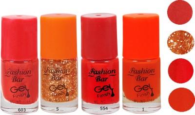 Fashion Bar Neon Orenge REd Nail Polish Combo 20 ml(Multicolor,)