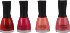 Glam girlz Matte Nail Polish 9 ml(Red, Pink, Peach, Light Pink)