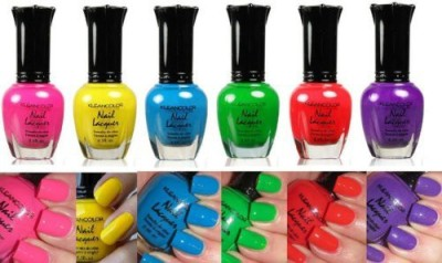 Kleancolor Neon Colors Lot Of Lacquer Neon Collection + Free Earring Gift 15 ml