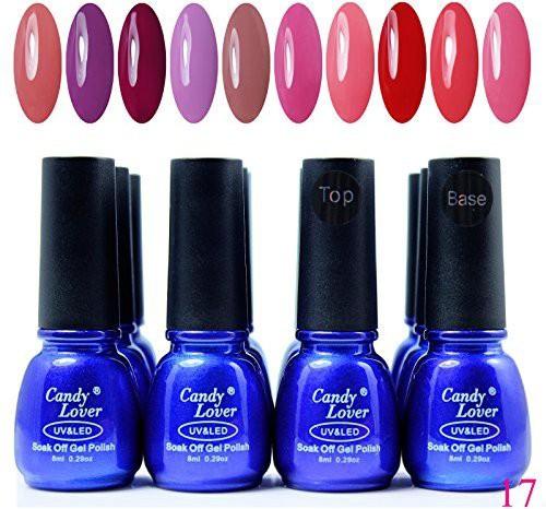 Candy Lover Brand Pcs/Lot Gel Multi Colors Top Coat + Base Kit 014 Dark(8 ml)