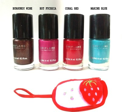 Oriflame Sweden Pure colour mini nail polish set of 4 with carry pouch 24 ml