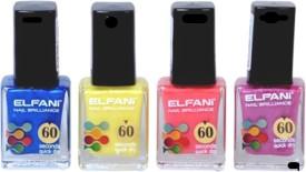 Elfani Blue Yellow Peach Purple Nail Polish Combo 36 ml